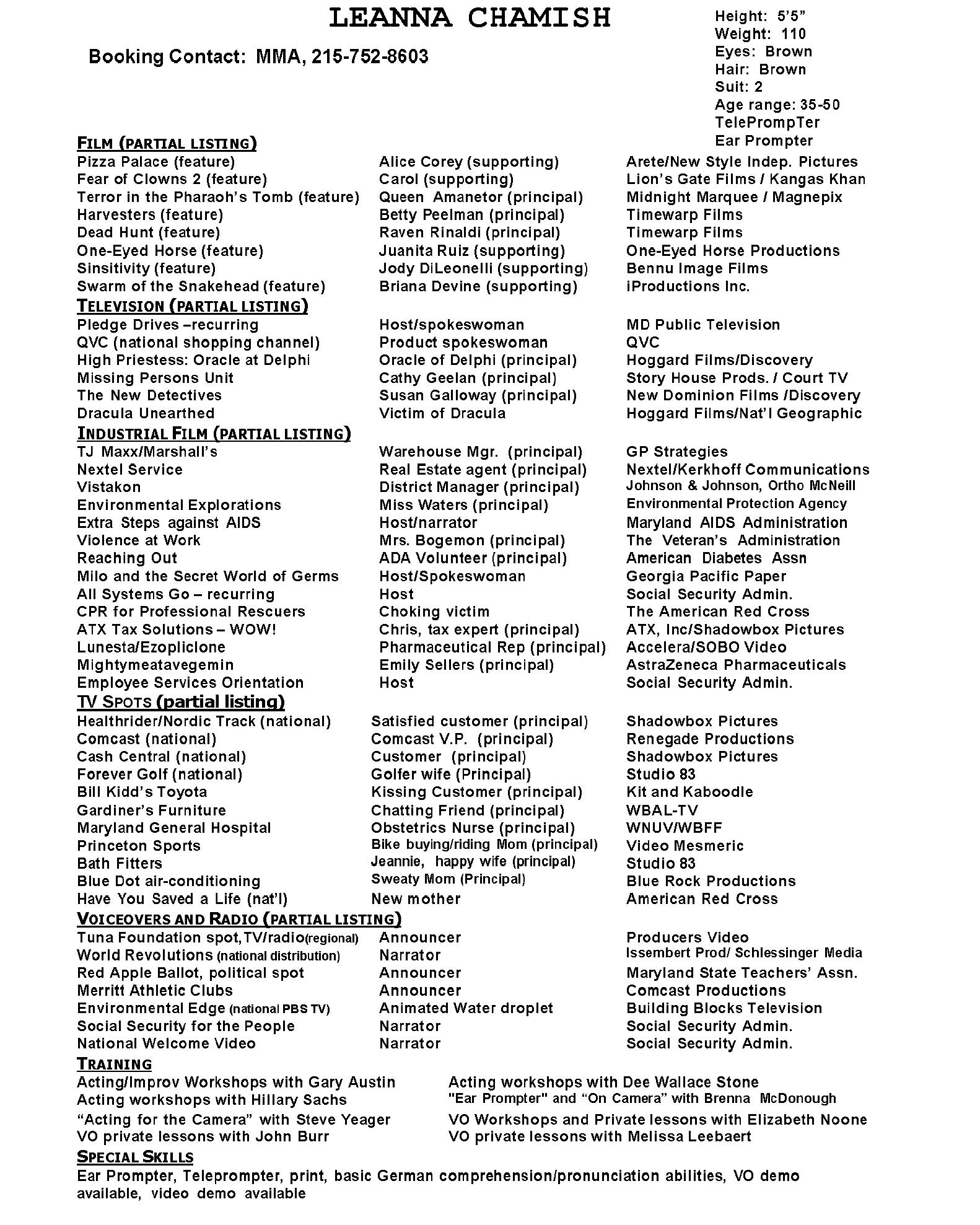 chamish headshot resume and photos